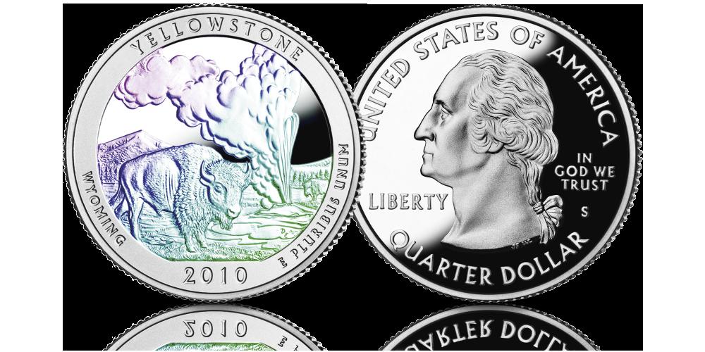 Srebrne monety amerykańskie z hologramem. Park Yellowstone.