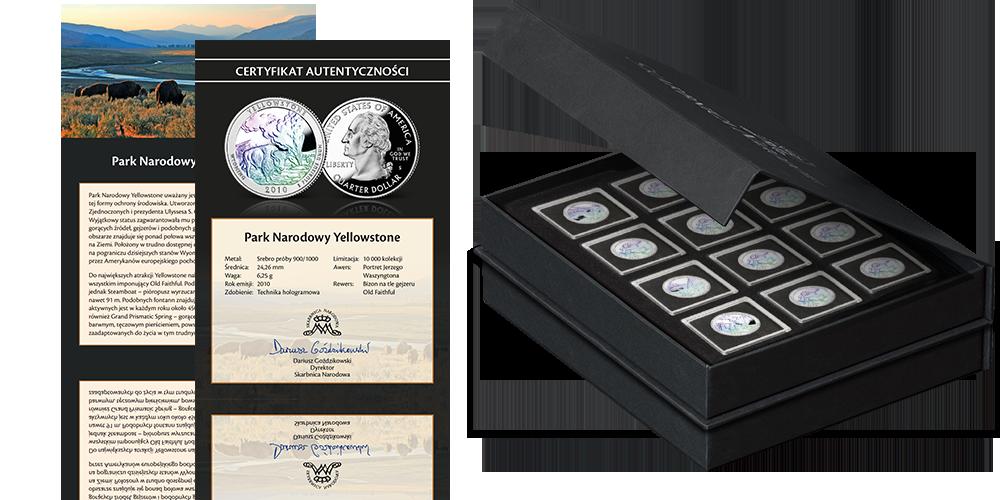 Srebrne monety z USA uszlachetnione hologramem Akcesoria Szkatuła na monety Certyfikat autentyczności