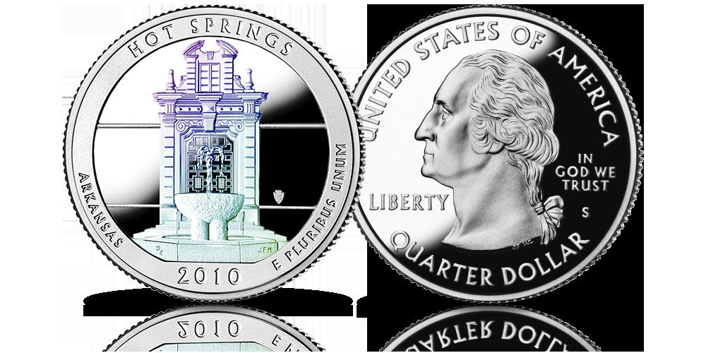 Srebrne monety z USA uszlachetnione hologramem Hot Springs 2010