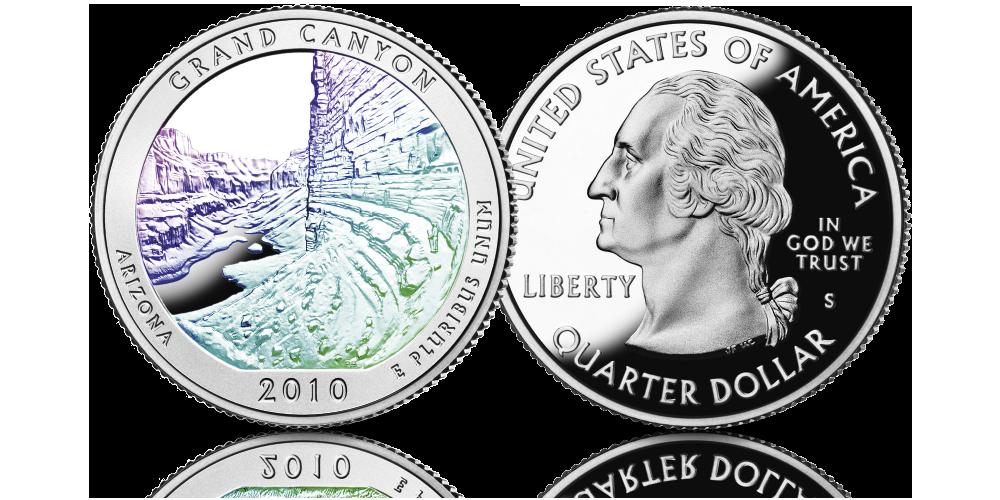 Srebrne monety z USA uszlachetnione hologramem Wielki Kanion Grand Canyon 2010
