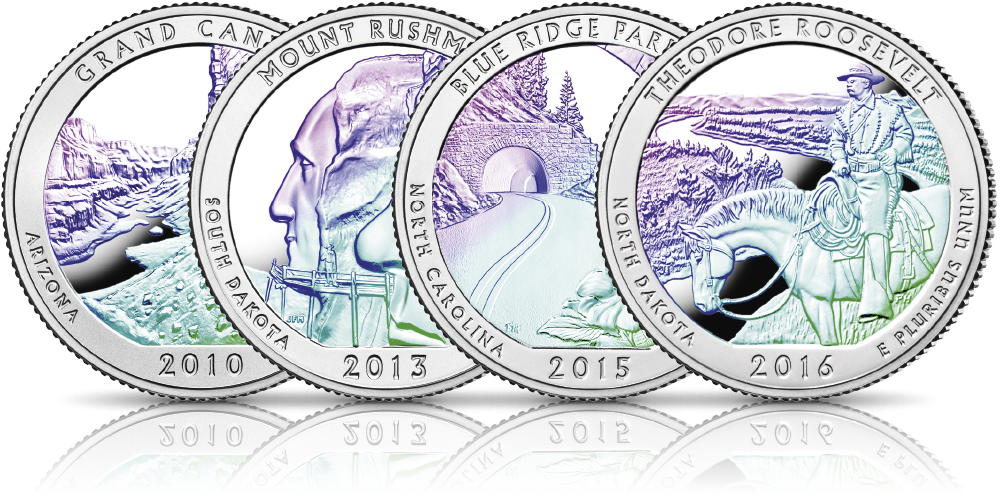 Srebrne monety z USA uszlachetnione hologramem Parki USA