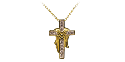 Srebrny krzyż ozdobiony 12 cyrkoniami