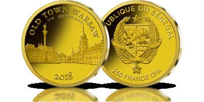 Stare Miasto w Warszawie na monecie z czystego złota