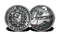 Srebrna moneta z kryształkami Swarovskiego - Strzelec