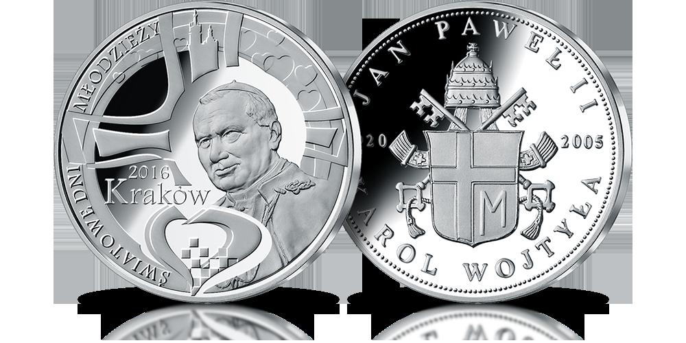 pamiątkowy medal z cennego srebra upamiętniający incijatora światowych dni młodzieży Ojca Świętego