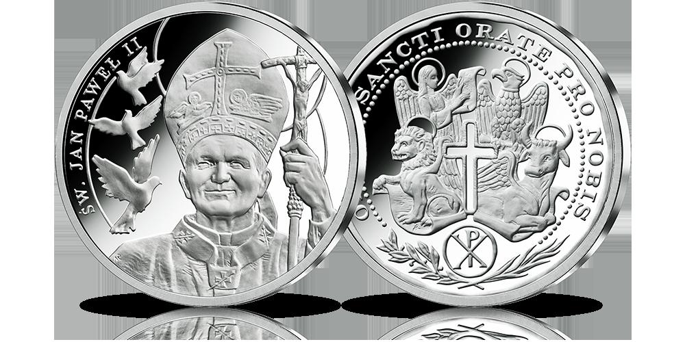 Święty Jan Paweł II na medalu w czystym srebrze