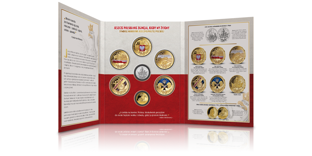 Historia symboli narodowych na medalach uszlachetnionych czystym złotem