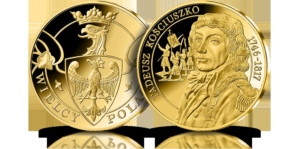 Tadeusz Kościuszko na medalu pamiątkowym wybitym w 14 karatowym złocie