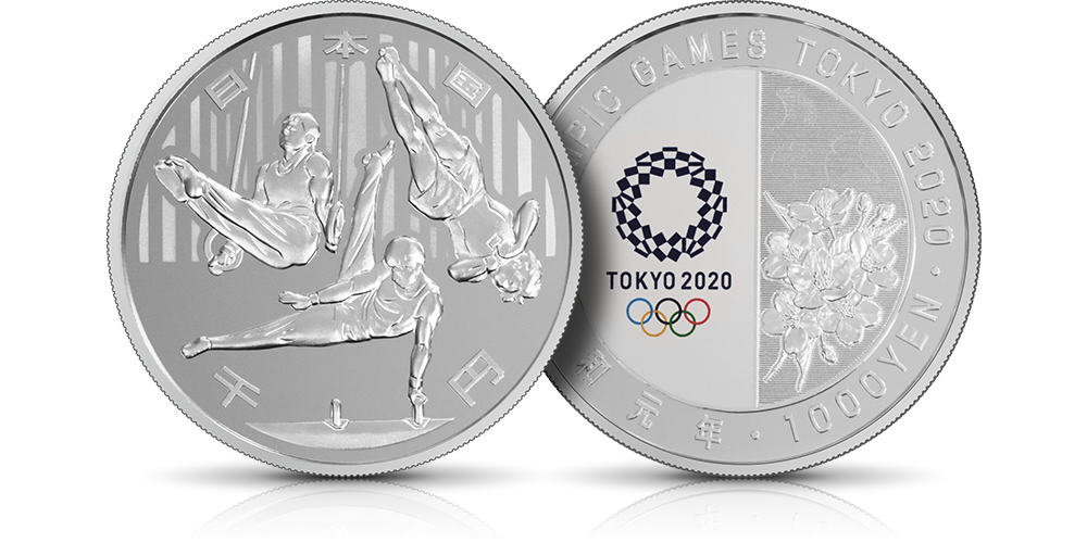 srebrna moneta japonia olimpiada tokio 2020 gimnastyka
