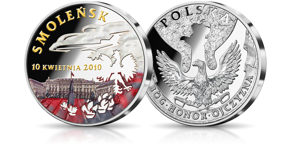 Srebrny medal upamiętniający katastrofę lotniczą w Smoleńsku.
