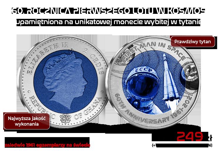 60. rocznica pierwszego lotu w kosmos upamiętniona na unikatowej monecie wybitej w tytanie