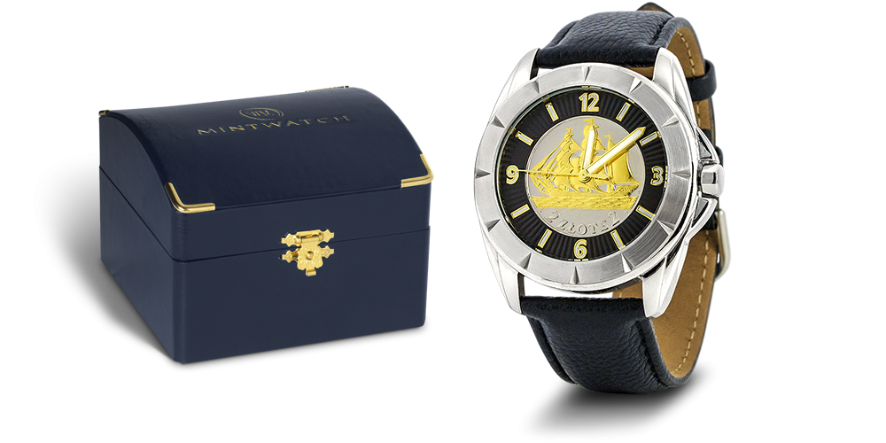 elegancki-zegarek-historyczna-srebrna-moneta-2-zlote-zaglowiec-zestaw
