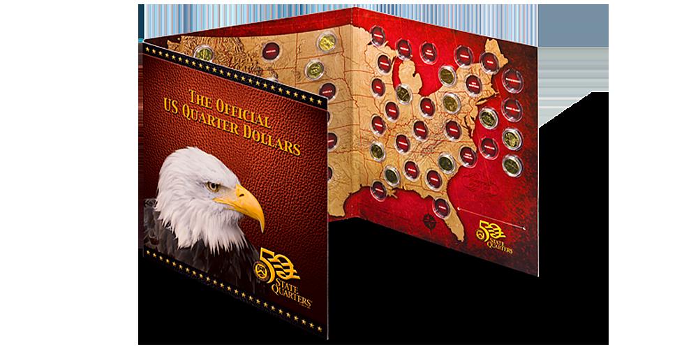 Folder US State Quarters amerykańskie ćwierćdolarówki uszlachetnione złotem