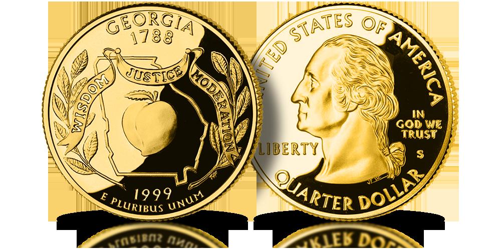Georgia US State Quarters amerykańskie ćwierćdolarówki uszlachetnione złotem