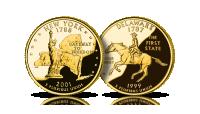New Jork Delaware US State Quarters amerykańskie ćwierćdolarówki uszlachetnione złotem