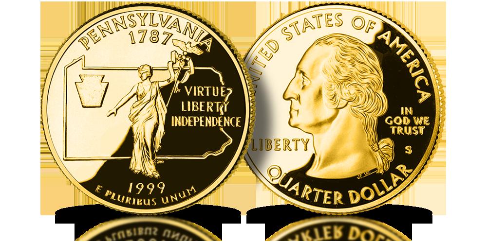 Pennsylvania US State Quarters amerykańskie ćwierćdolarówki uszlachetnione złotem