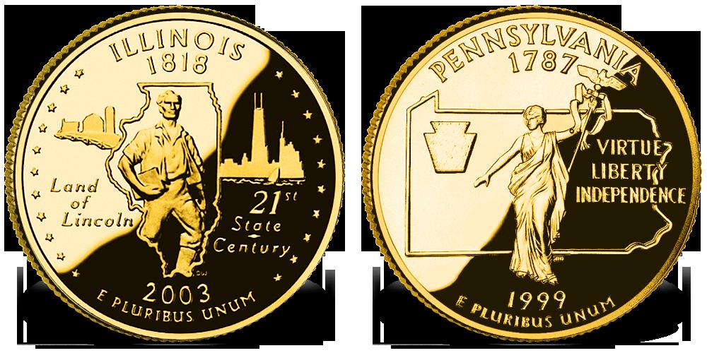 Monety Illinois orazPennsylvania