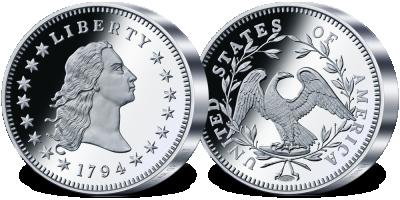 Uszlachetniona czystą platyną replika najdroższej monety świata - dolara