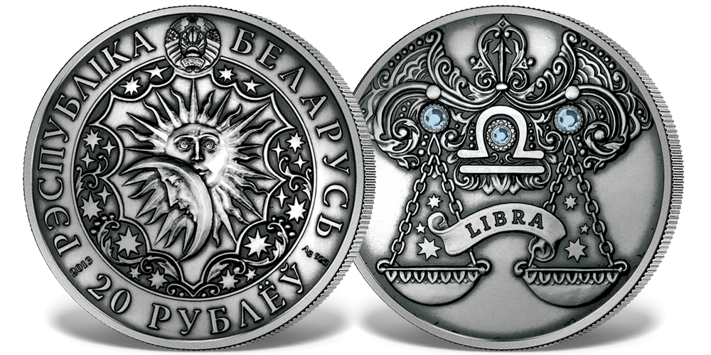 Srebrna moneta z kryształkami Swarovskiego - Waga