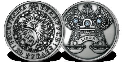 Waga - znak zodiaku na srebrnej monecie ozdobionej kryształkami Swarovskiego