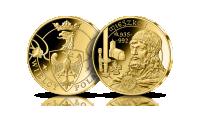 Mieszko I na medalu platerowanym 24-karaotwym złotem