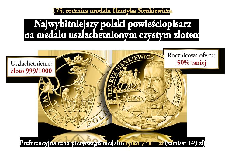 Henryk Sienkiewicz na medalu uszlachetnionym 24-karatowym złotem