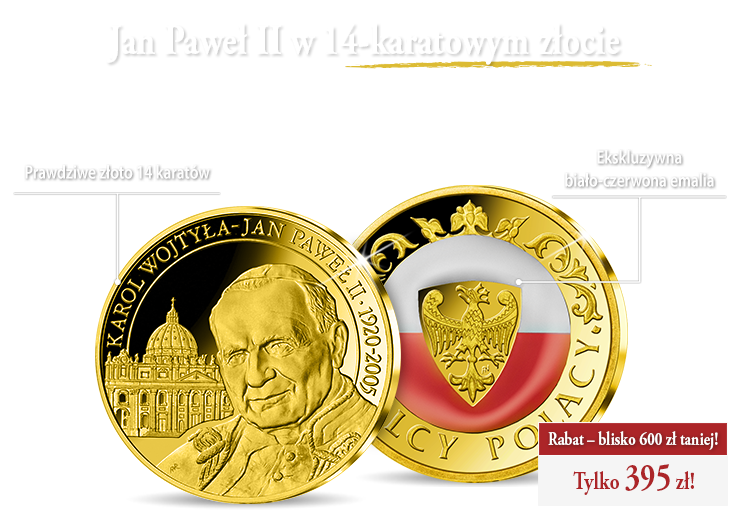 Jan Paweł II na złotym medalu uszlachetnionym emalią w barwach narodowych