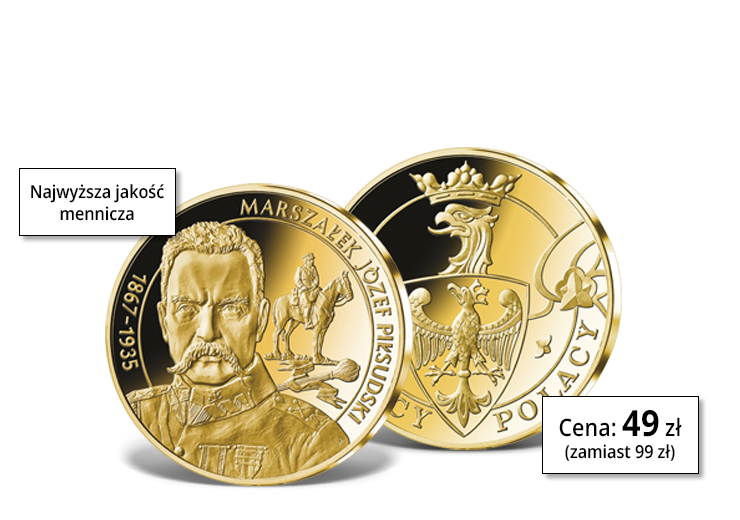 Marszałek Józef Piłsudski - medal pamiątkowy platerowany 24-karatowym złotem