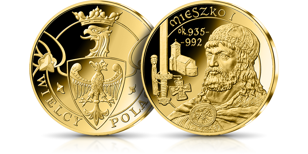 Mieszko I na medalu uszlachetnionym 24-karatowym złotem
