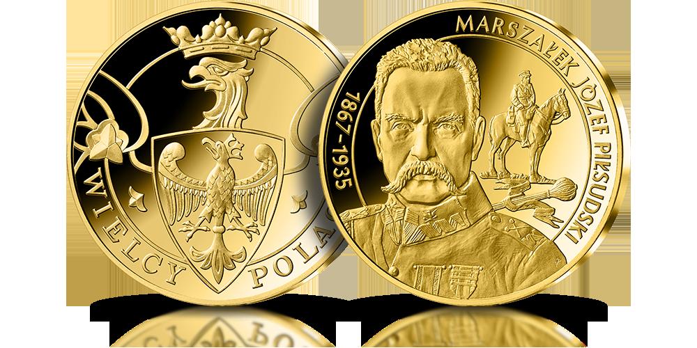 Marszałek Józef Piłsudski na medalu uszlachetnionym 24-karatowym złotem