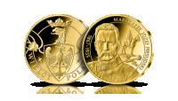 Józef Piłsudski na medalu uszlachetnionym 24-karatowym złotem