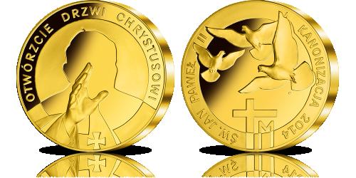 Wielki Medal Kanonizacyjny uszlachetniony 24-karatowym złotem