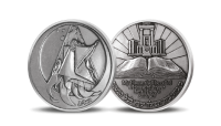 Wniebowzięcie Eliasza - scena biblijna na medalu z Ziemi Świętej
