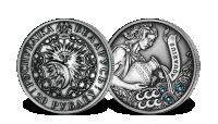 srebrna moneta Wodnik z kryształkami Swarovskiego