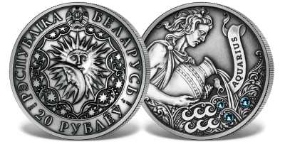 Wodnik - znak zodiaku na srebrnej monecie ozdobionej kryształkami Swarovskiego