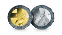 Kardynał Wyszyński na medalu wybitym w innowacyjnej technologii łączącej aż 3 kolory srebra.