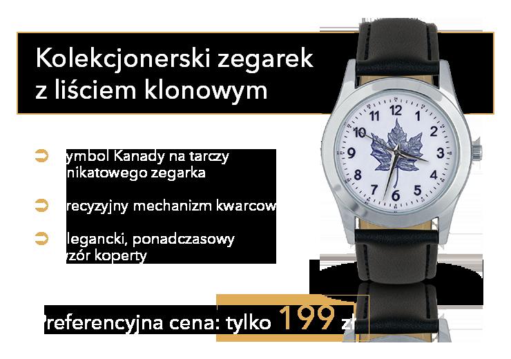 Kolekcjonerski zegarek z liściem klonowym