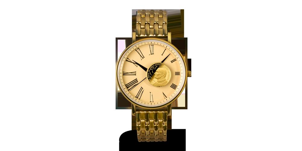 Zegarek ze złotą monetą z Janem Pawłem II.