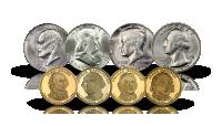 Okolicznościowe srebrne dolary, wybite z okazji 200. rocznicy powstania Stanów Zjednoczonych i słynne dolary prezydenckie
