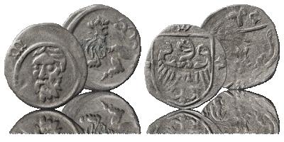 Zestaw srebrnych monet śląskich z XV wieku