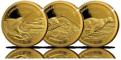 Zwierzęta prezentujące trzy żywioły na złotych monetach!