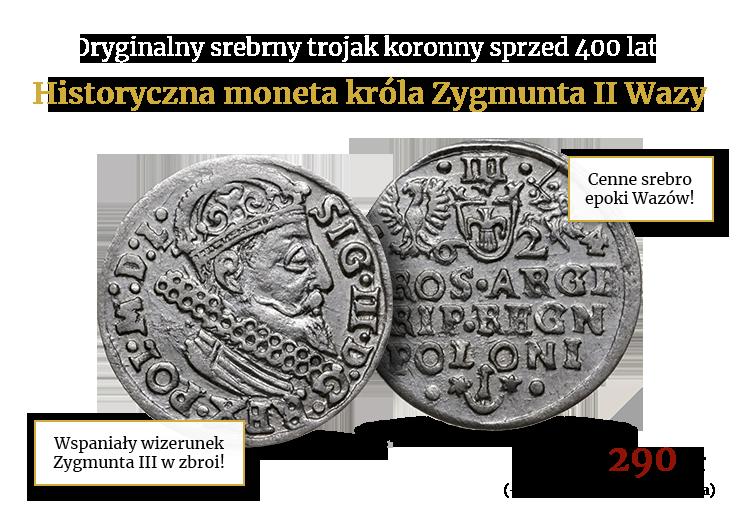 Srebrny trojak krakowski króla Zygmunta III Wazy